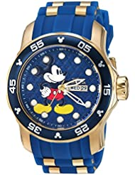 Invicta Mens Disney Limited Edition Quartz Stainless Steel and Silicone Casual Watch, Color:Blue (Model: 23764)