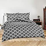 Utopia Bedding 3pc Duvet Cover with 2 Pillow Shams (Queen, Printed Grey)