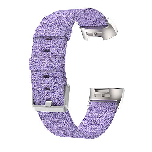 Price comparison product image Kintaz for Fitbit Charge 3 Bands,  Woven Canvas Fabric Watch Band Wrist Strap Replacement for Fitbit Charge 3 (Purple)