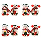 OliaDesign SNOWMAN 8 Piece Christmas Dinner Flatware Holder, White