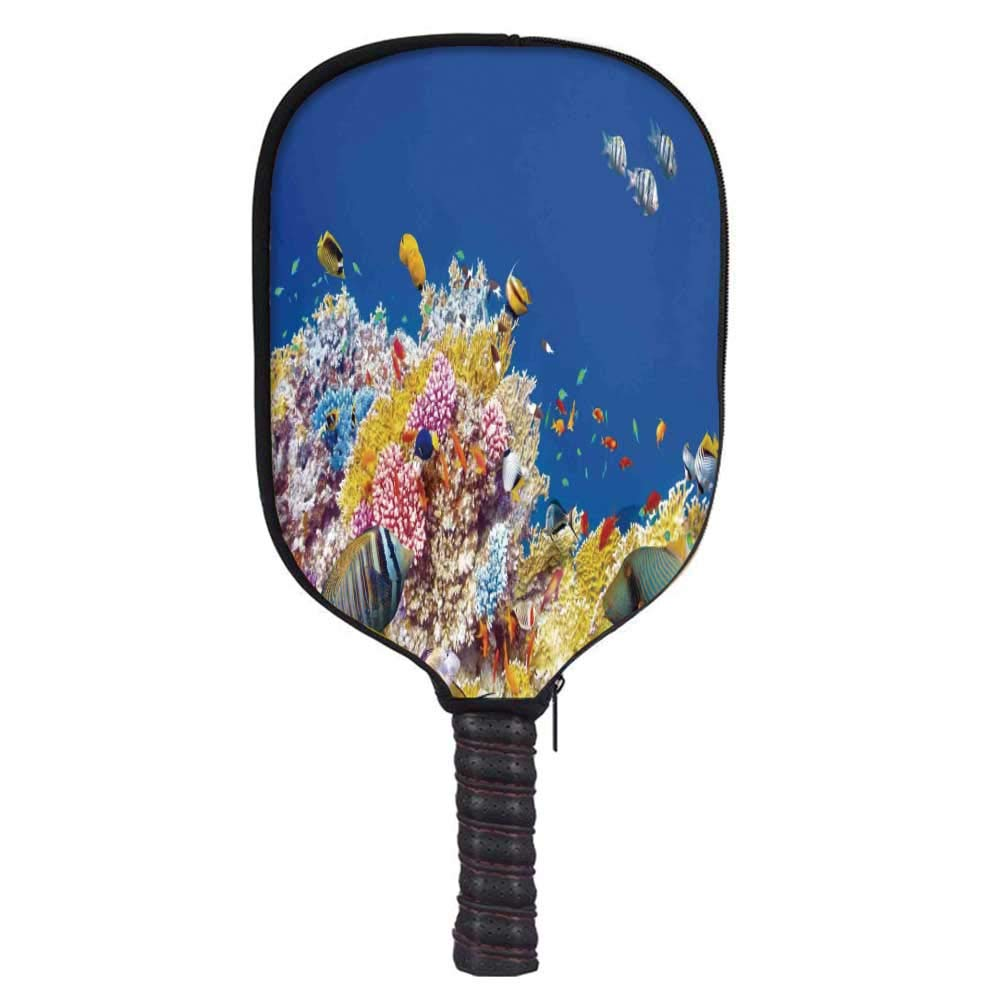 MOOCOM Ocean Decor Fashion Racket Cover,Colorful Underwater World with Corals and Tropical Fish Exotic Diving Travel Destination for Playground,8.3'' W x 11.6'' H