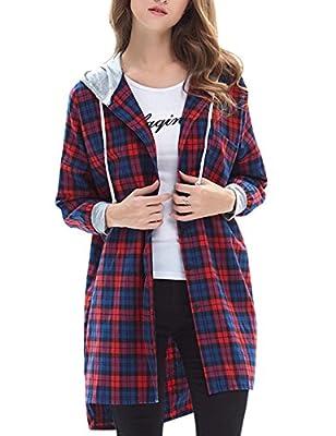 Jenkoon Women's Mid-Long Boyfriend Plaid Hoodie Shirt Blouse Long Sleeve Button-up Dress Tops