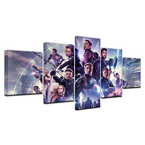 kkxdpq Framed 5 Pieces Painting Wallpaper Oil Print On Canvas Wall Art Home Decor Movie Avengers Hero ()