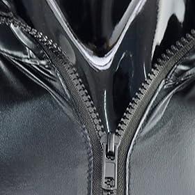 - 51UYMb0FMkL - iEFiEL Men Women Wet Look PVC Leather Long Sleeves Catsuit Bodysuits