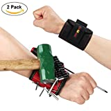[Upgraded Version]TUXWANG Magnetic Wristband with 6 Strong Magnet and an Elastic Band to Hold Screwdrivers/Scissors/Screws/Nuts/Bolts/Nails and Washers - Best Tool Gift( 2 Pack Black+Red)