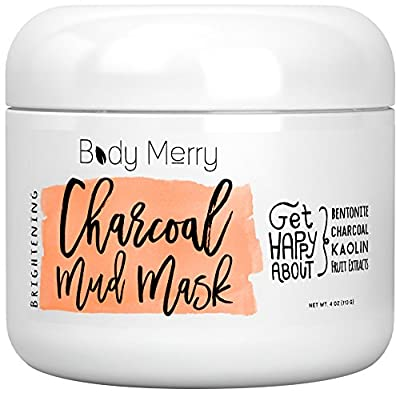 Brightening Charcoal Mud Mask- Facial Scrub Cleans Skin, Clears Blackheads, Unclogs Pores; Fight Acne& Detoxify + Brighten Complexion w Best Anti-Aging Fruit Extracts + Bentonite + Kaolin...