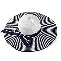 ECCRIS Women Summer Foldable Navy Blue White Striped Wide Brim Floppy Straw Hat