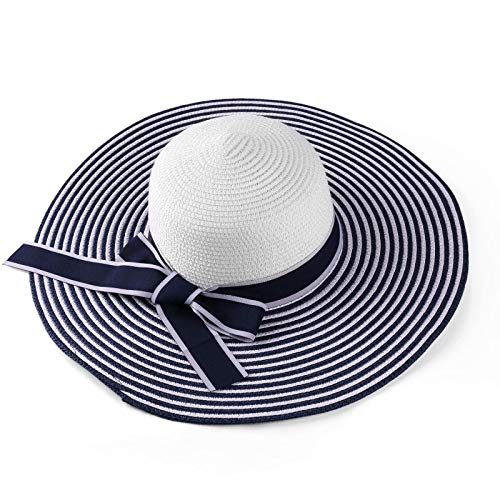 ECCRIS Women Summer Foldable Navy Blue/White Striped Wide Brim Floppy Straw Hat ()