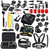 SmilePowo Travel Accessories for GoPro Hero5,GoPro Hero6,GoPro Hero7 Black/White/Sliver,GoPro Fusion,Hero Session,HERO4,AKASO,APEMAN,DBPOWER and Other Action Camera Accessory Kit