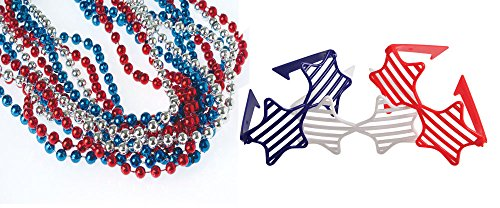 USToy 24 Piece Red White Blue Patriotic Metallic Bead for sale  Delivered anywhere in USA