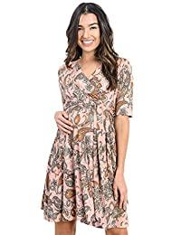 LaClef Flower Print V-Neck 3/4 Sleeve Baby Shower Front Tie Wrap Maternity Dress