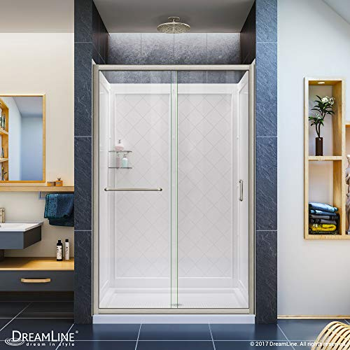 DreamLine Infinity-Z 36 in. D x 48 in. W x 76 3/4 in. H Clear Sliding Shower Door in Brushed Nickel, Center Drain and Backwalls, DL-6107C-04CL ()