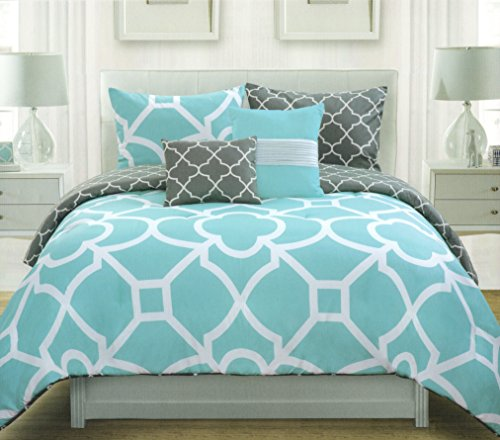 Max Studio Lattice Quatrefoil Pattern Full Queen Duvet