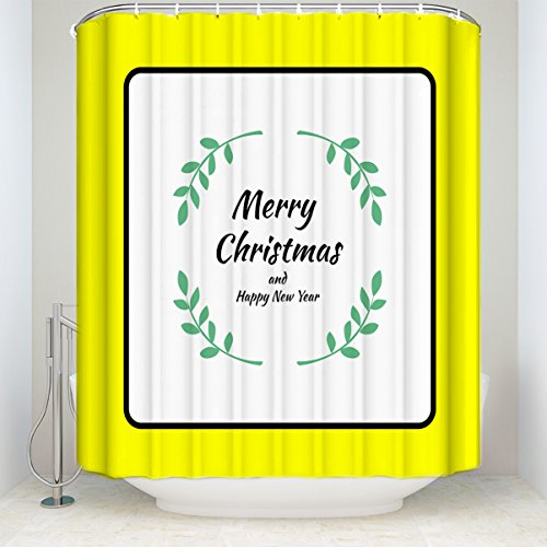 Prime Leader Festival Decor Christmas Willow Rings Blessing Shower Curtain, Mildew Resistant Polyester Fabric Bathroom Decorations, Bathroom Accessories, 60 x 72 Inches