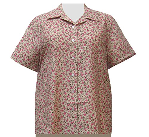 Shirt Garden Romantic (A Personal Touch Romantic Garden Women's Plus Size Camp Shirt - 3X)