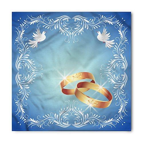 Bandana Frame - Ambesonne Unisex Bandana, Wedding Ornament Frame Doves Rings, Caramel White