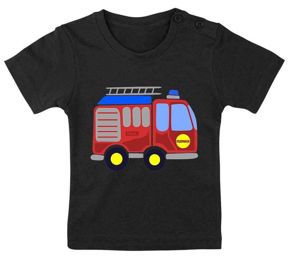 HARIZ Baby T-Shirt Feuerwehr Auto Fahrzeuge Traktor Plus Geschenkkarten Bleistift Grau 3-9 Monate 60-69cm