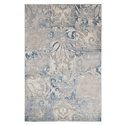 Lavish Home Vintage Patchwork Rug – Beige Blue – 3'3″ x 5′ For Sale