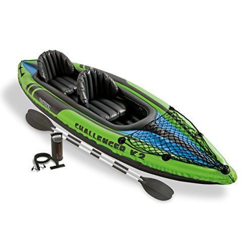 Intex Challenger K2 Kayak, 2-Person Inflatable Kayak Set with Aluminum Oars and High Output Air Pump (Intex Air Bed Patch Repair Kit compare prices)