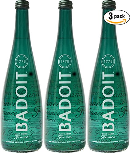Badoit Natural Spring Sparkling Water, 25.4oz Glass Bottle (Pack of 3, Total of 76.2 Oz)