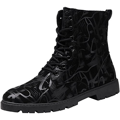 Uomo Cricket da Style da Chunky Heel Fashion Lace Scarpe up British Stivaletti Leisure Shoes Nero 1q5C7Of