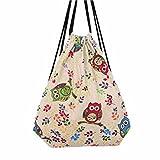 Bag,Manziron Women's Fshion Owl Drawstring Beam Port Backpack