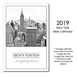 2019 New York City Desk Calendar With Stand, Black and White with Display Frame Easel