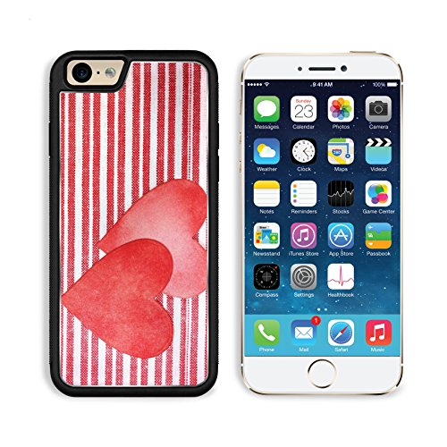 Apple iPhone 6 6S Aluminum Cover Two handcrafted paper hearts on red and white striped background IMAGE 33491033 by MSD Customized Premium Deluxe Pu Leather formation Accessories HD Wifi Luxury Protec