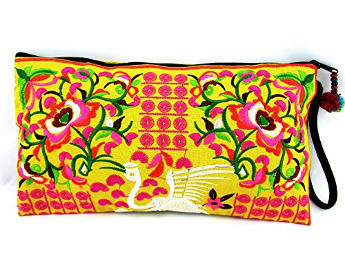 Small Fabric Clutch Boho Hmong Hill Tribe Bag Cellphone Cosmetics Travel Pouch Embroidered Wristlet Purse ()