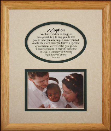 8x10 ADOPTION Picture & Poetry Photo Gift Frame ~ Cream/Hunter Green Mat ~ Great Adoption Keepsake Gift for Adopting Parents