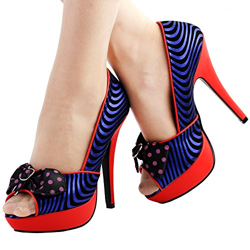 Pumps Red Sexy Blue LF30478 Bow Wave Show Platform Stiletto Story Print Black Red Party xfP50wqgnA