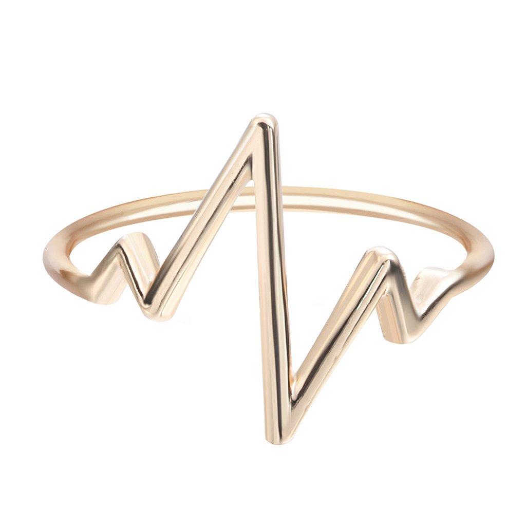 Qiandi Jewelry Women Lifeline Pulse Heartbeat Ring Wedding Christmas Jewelry Gift BW416E-30a