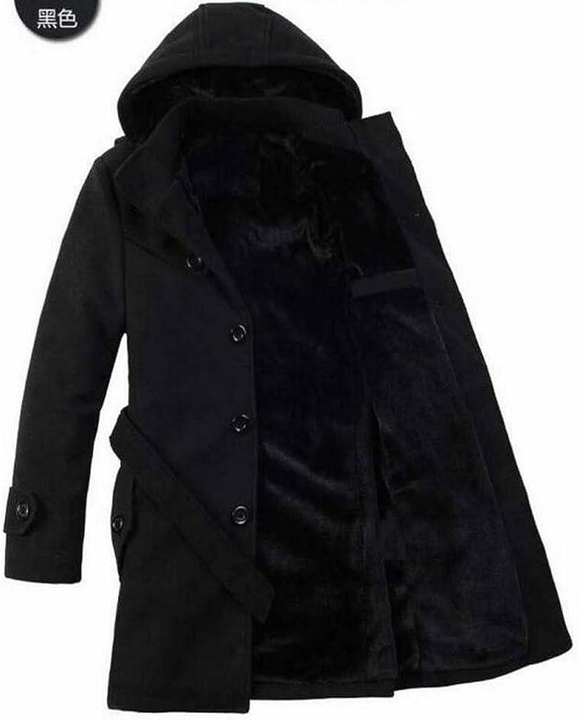 Oberora-Men Winter Warm Faux Fur Lined Belted Hooded Long Pea Coat