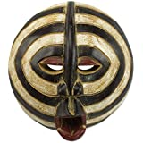 NOVICA Ghanaian Hand Carved Painted Black and White Sese Wood Wall Mask, 'Baluba Rings'
