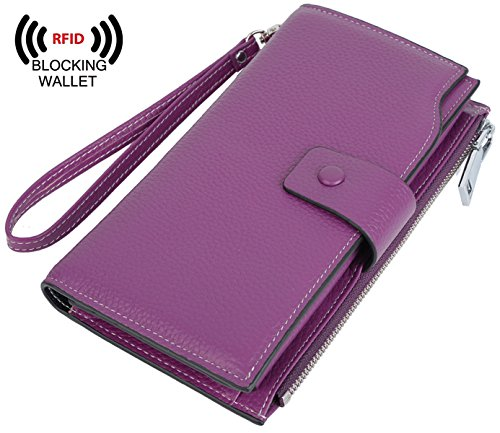 YALUXE Women's Wax Genuine Leather RFID Blocking Large Capacity Luxury Clutch Wallet Card Holder Organizer Ladies Purse Wallets for women (Pebbled Leather Snap Wallet)
