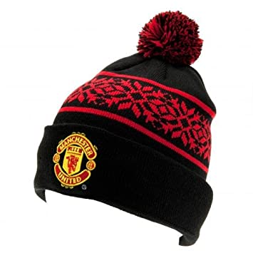 Manchester United Knitted Bronx Bobble Hat with Snowflake Design Black   Amazon.co.uk  Sports   Outdoors 24d6269cc0a