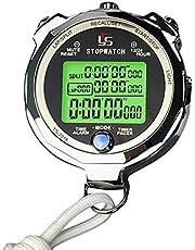 Lesgos - Cronómetro de metal resistente a la lluvia de 1/1000 segundos con cronómetro digital deportivo con retroiluminación / temporizador de cuenta atrás / pantalla grande / reloj despertador, 100/200 raps de memoria digital para deportes, entrenador, árbitro