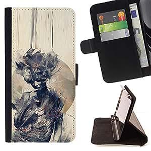 Momo Phone Case / Flip Funda de Cuero Case Cover - Acuarela Mujer Significado Profundo - Samsung Galaxy S5 V SM-G900