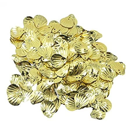 15mm x 15mm Jili Online 15mm Sparkling Shell Loose Sequins Paillettes Sewing DIY Wedding Craft Decoration Gold