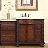 Cheap 56″ Single Sink Crema Marfil Marble Top Bathroom Vanity Cabinet Lavatory Furniture 213CM-L