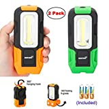 Portable LED Work Light 200 Lunens Magnetic Base with Hanging Hook COB Flashlight Lamp Battery Included, Flood Light for Shop Car Repairing Outdoor Camping Fishing Hiking and Emergency(Orange+Green)