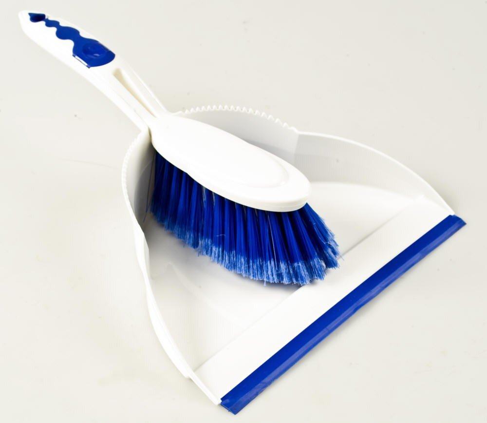 Kehrgarnitur mit Gummilippe Weiß/Blau Centi Warenhandel