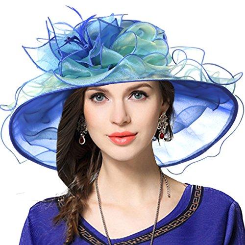 VECRY Women Church Derby Hats Tea Party Bridal Dress Wedding Hat (Blue/Green)]()