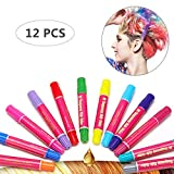 Hair Chalk Girls Toys & Kids Toys Makeup Kit Temporary Hair Chalk Pens Teen Girl Gifts 7, 8, 9, 10, 11, 12 Year Old, Adults, Great Birthday Gift & Christmas Gifts - 12 Vibrant Colors.