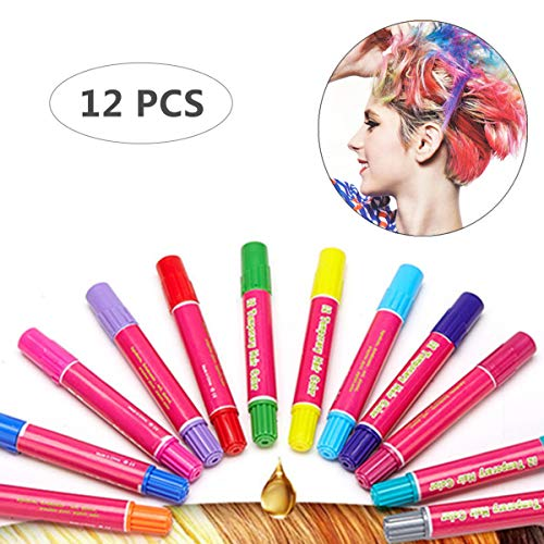 (Hair Chalk Girls Toys & Kids Toys Makeup Kit Temporary Hair Chalk Pens Teen Girl Gifts 7, 8, 9, 10, 11, 12 Year Old, Adults, Great Birthday Gift & Christmas Gifts - 12 Vibrant Colors.)