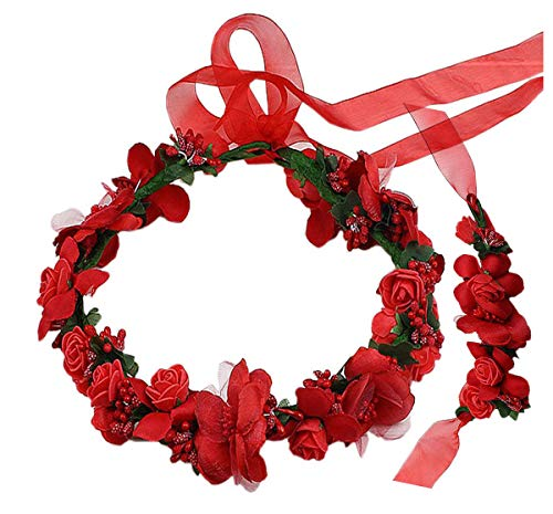 Coolwife Flower Crown Wedding Hair Wreath Floral Headband Garland Wrist Band Set (Red)