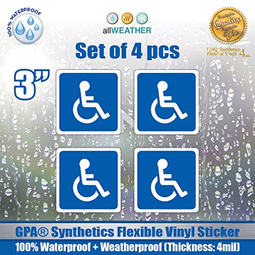 Buddies Blue Cars (4 Pack of Disabled Logo/Wheelchair Symbol ADA Compliant Handicap Access Accessible 3 x 3 inch Blue Stickers Waterproof Car Parking Vinyl Decals)