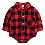 Newborn Baby Girl Boy Blouse Plaid Deer Plaid Flannel Romper Bodysuit Clothes Red