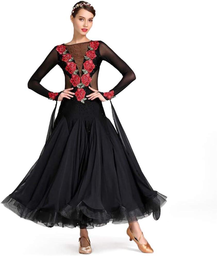 人気新品 モダンドレス 社交ダンスドレス ラテンドレス ロングスカート ダンスウエア 競技 デモ ダンス衣装 ワンピース ブラック Medium