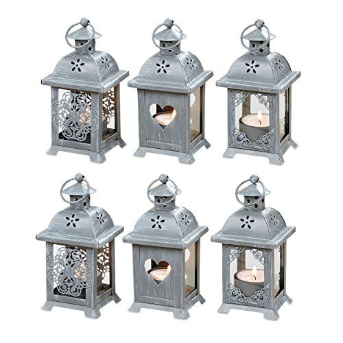 WHW Whole House Worlds Romantic French Country Style Hearts, Flowers and Lace, Candle Lanterns, Set of 6, LED Tea Light Holders, 2 3/4 x 2 3/4 x 5 1/2 Inches -